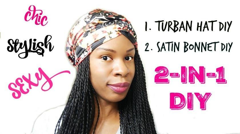 How to Make A Turban Hat   Satin Bonnet  A 2-In-1 DIY ( Beginner Sewing-  Natural Hair Accessories) 3f18e2ad8481